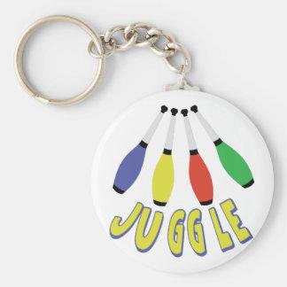 Juggle Clubs Basic Round Button Keychain