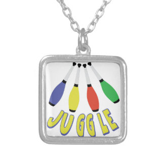 Juggle Clubs Square Pendant Necklace