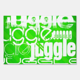 Juggle; Neon Green Stripes Lawn Sign