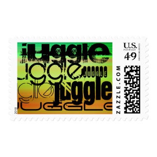 Juggle; Vibrant Green, Orange, & Yellow Postage
