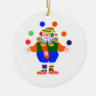 juggler clown Double-Sided ceramic round christmas ornament