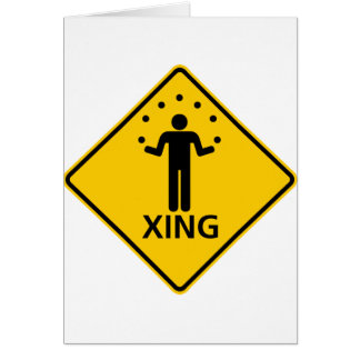 Juggler Crossing Highway Sign Greeting Card