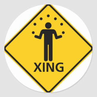 Juggler Crossing Highway Sign Classic Round Sticker