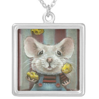 Juggler Mouse Square Pendant Necklace
