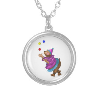 Juggling Bear Round Pendant Necklace
