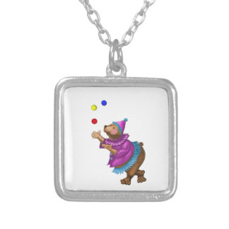 Juggling Bear Square Pendant Necklace