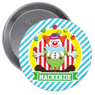 Juggling Big Top Circus Clown; Blue Stripes 4 Inch Round Button