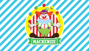 Clown business cards templates zazzle juggling big top circus clown blue stripes business card colourmoves