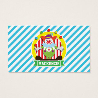 Juggling Big Top Circus Clown; Blue Stripes Business Card