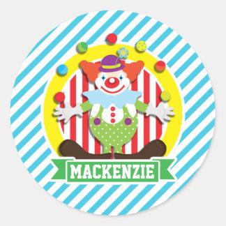 Juggling Big Top Circus Clown; Blue Stripes Classic Round Sticker