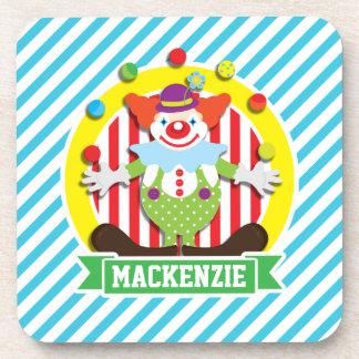 Juggling Big Top Circus Clown; Blue Stripes Coaster