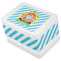 Juggling Big Top Circus Clown; Blue Stripes Drink Cooler
