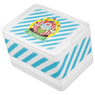 Juggling Big Top Circus Clown; Blue Stripes Drink Cooler