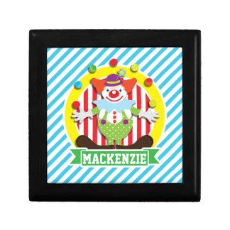 Juggling Big Top Circus Clown; Blue Stripes Trinket Boxes