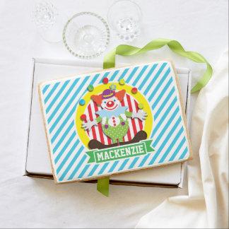 Juggling Big Top Circus Clown; Blue Stripes Jumbo Cookie