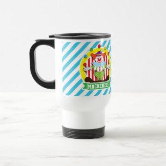 Juggling Big Top Circus Clown; Blue Stripes Mug
