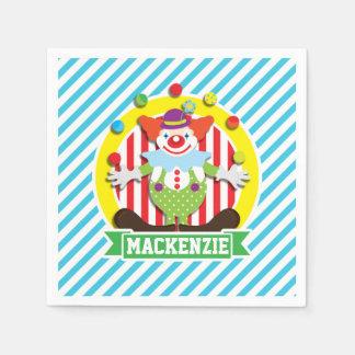 Juggling Big Top Circus Clown; Blue Stripes Napkin