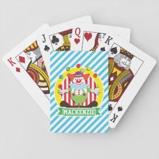 Juggling Big Top Circus Clown; Blue Stripes Playing Cards