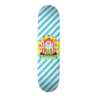 Juggling Big Top Circus Clown; Blue Stripes Skate Board Decks
