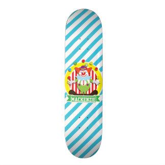 Juggling Big Top Circus Clown; Blue Stripes Skateboard