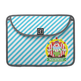 Juggling Big Top Circus Clown; Blue Stripes Sleeve For MacBooks