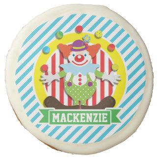 Juggling Big Top Circus Clown; Blue Stripes Sugar Cookie