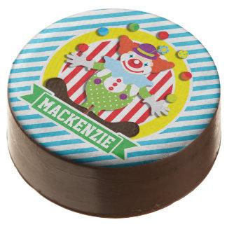 Juggling Big Top Circus Clown; Blue Stripes Chocolate Dipped Oreo