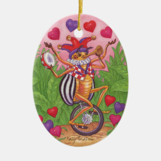 Juggling Bug Valentines Ornament Ceramic Oval Ornament