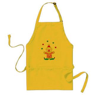 Juggling cartoon party clown adult apron