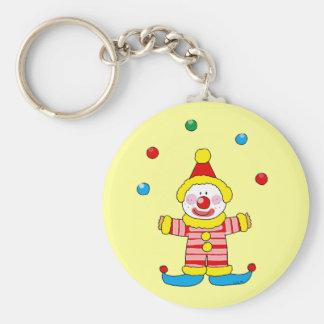 Juggling cartoon party clown basic round button keychain