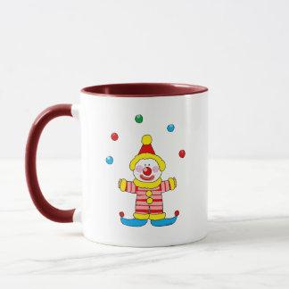 Juggling cartoon party clown mug