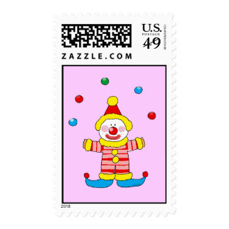 Juggling cartoon party clown postage stamp