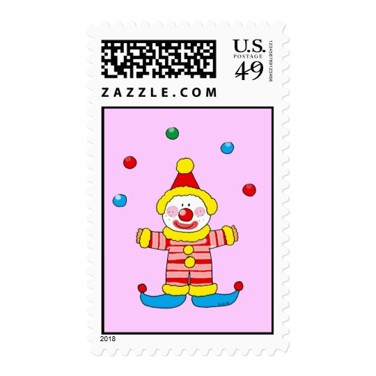 Juggling cartoon party clown postage