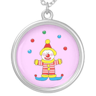 Juggling cartoon party clown round pendant necklace