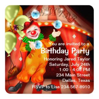 "Juggling Circus Clown Birthday Party 5.25"" Square Invitation Card"