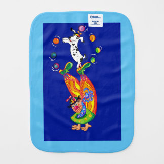 Juggling Clown and dog Baby Burp Cloth