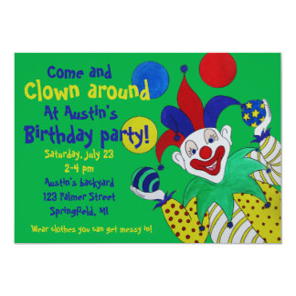 Juggling Clown Birthday 5x7 Paper Invitation Card