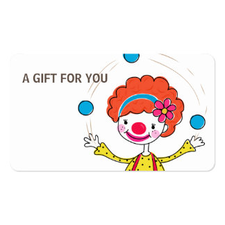 Juggling Clown Gift Card, Certificate, D11-052115 Double-Sided Standard Business Cards (Pack Of 100)