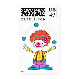 Juggling Clown Postage Stamps