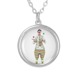 Juggling Clown Round Pendant Necklace