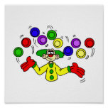 Juggling Clown with Balls Print