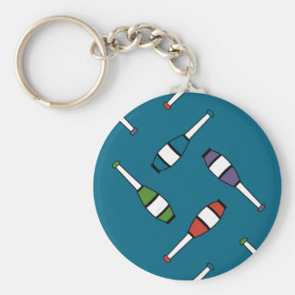 Juggling Club Toss Blue Basic Round Button Keychain