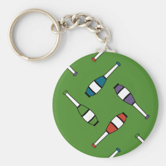 Juggling Club Toss Green Basic Round Button Keychain