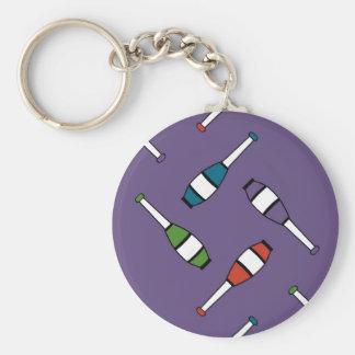Juggling Club Toss Purple Basic Round Button Keychain