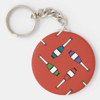 Juggling Club Toss Red Basic Round Button Keychain