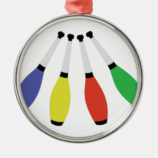 Juggling Clubs Metal Ornament