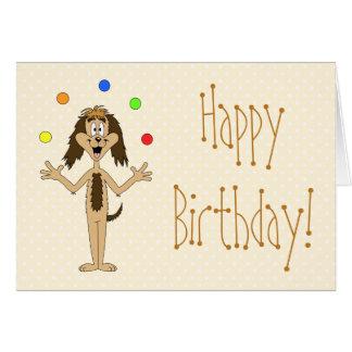 Juggling Dog Cartoon. Birthday. Greeting Cards