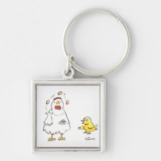 Juggling Dr. Julia Silver-Colored Square Keychain