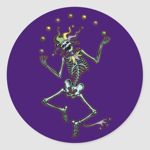 Juggling Jester Skeleton Classic Round Sticker
