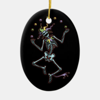 Juggling Jester Skeleton Double-Sided Oval Ceramic Christmas Ornament